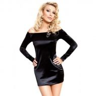 Robe divine et satinee a manches longues et lapin strass