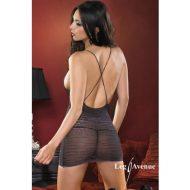 Robe geometrique ajouree leg avenue noir robes lingerie courtes
