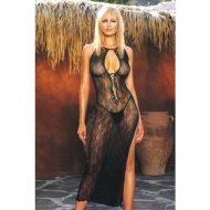Robe lingerie douces vagues leg avenue noir robes lingerie longues