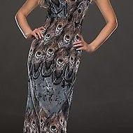 Robe longue grise imprime plumes de paon