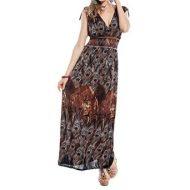 Robe longue marron imprime plumes de paon