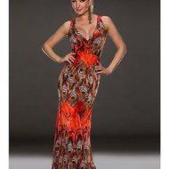 Robe longue orange imprime plumes de paon