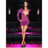 Robe manches longues convoitise leg avenue noir rose fluo club wear