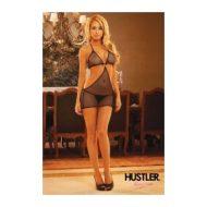 Robe resille courbe sexy hustler lingerie noir nuisettes