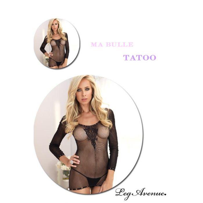robe resille manches longues leg avenue leg avenue taille unique robes lingerie courtes noir