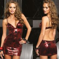 Robe sequins d etoiles leg avenue rouge club wear
