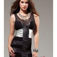 Robe voilage et brillance forplay noir robes courtes