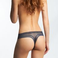 Tanga transparent borde de dentelle