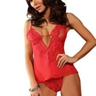 Top et string ouvert justine red